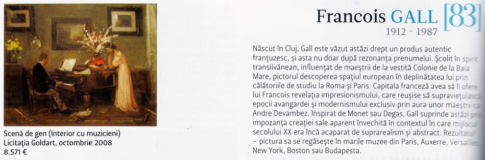 Francois GALL in revista CAPITAL - 100 CEI MAI VALOROSI PICTORI ROMANI 2012