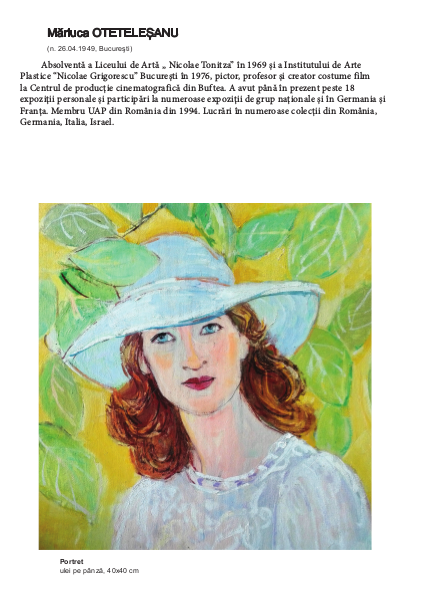 Mariuca OTETELESANU in Albumul - Catalog Women Power in Art de la Castelul Cantacuzino Busteni 2019