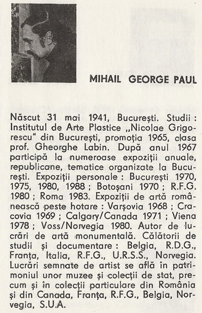 MIHAIL GEORGE PAUL - facsimil PICTORI ROMANI CONTEMPORANI, 1989 pag.153