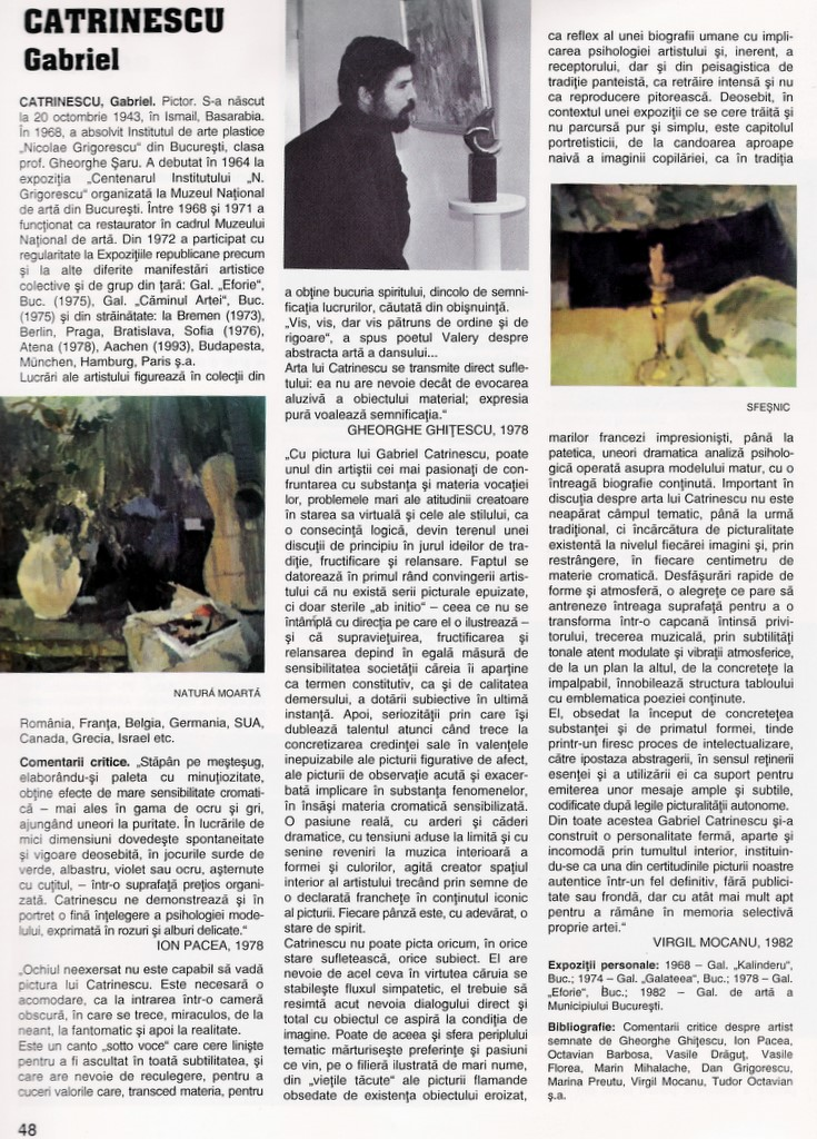 "Gabriel CATRINESCU in ""Enciclopedia artistilor romani contemporani"" Ed. ARC 2000 vol. I 1996 pag.48"