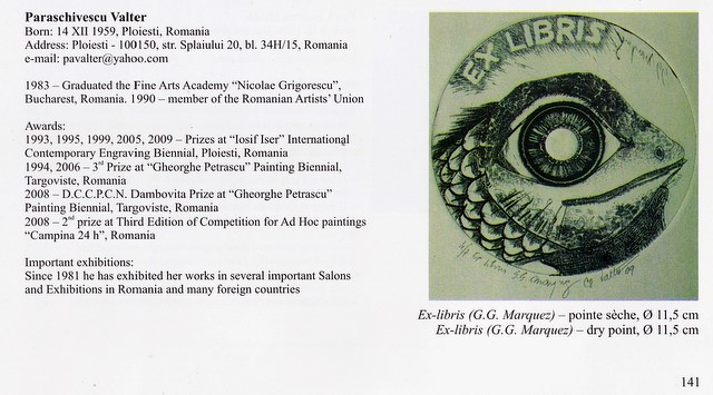"Valter Paraschivescu in Catalogul Bienalei Internationale de Gravura Contemporana ""Iosif Iser"" Editia a IX-a, 2011"