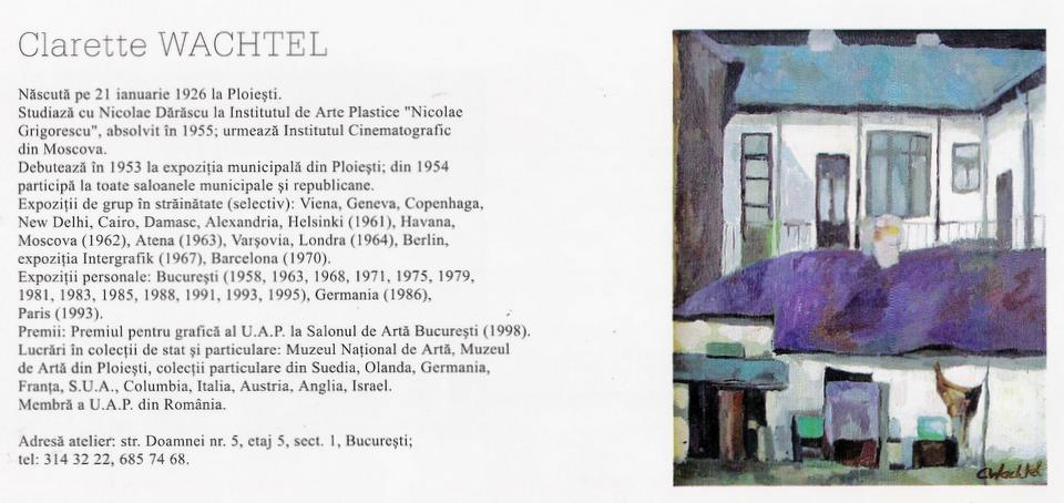 "CLARETTE WACHTEL in Catalogul ""Seniori ai picturii românesti contemporane"", Galeria Apollo, 2003"