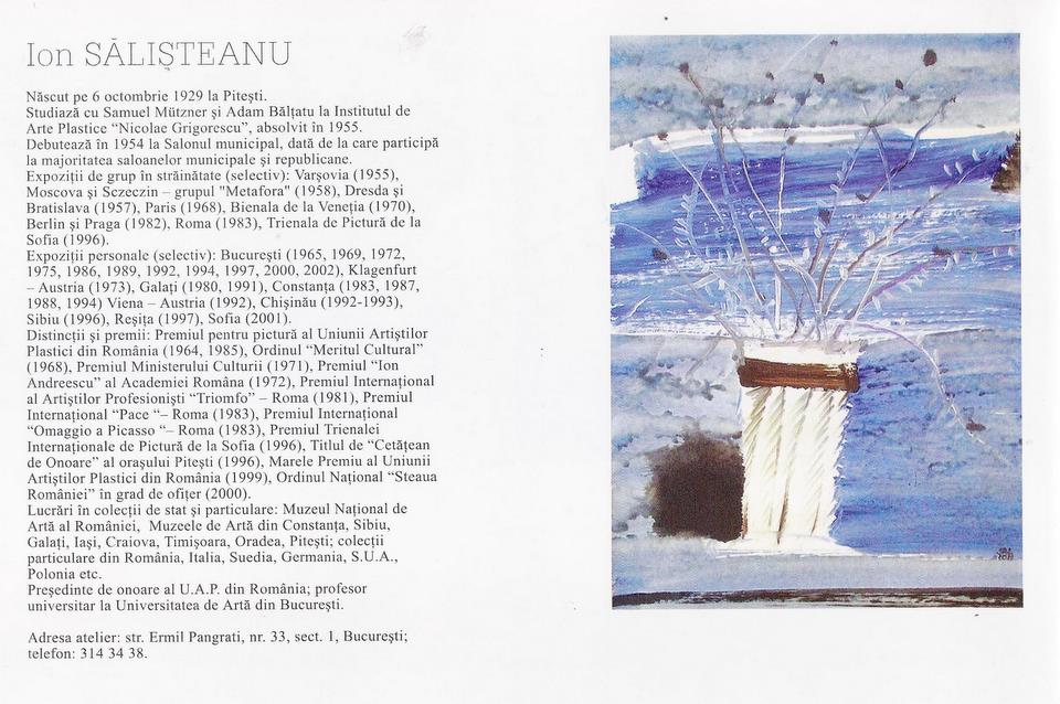 "Ion SALISTEANU in Catalogul ""Seniori ai picturii românesti contemporane"", Galeria Apollo, 2003"